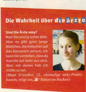 Maja Grundler, Die rzte-Fan