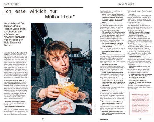 Guten! Sam Fender isst Döner – und redet mit mir darüber. Auszug aus dem Musikexpress 08/2019.